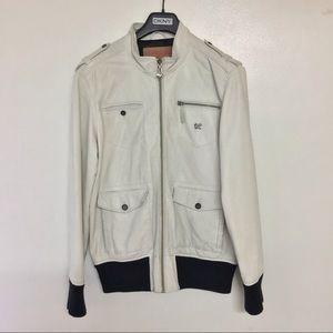 LRG Vintage off white Ivory leather jacket